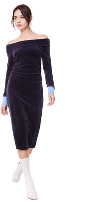 Juicy Couture Stretch Velour Off Shoulder Midi Dress
