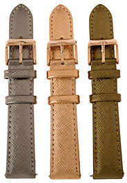Bronzo Italia Bronze Set of 3 Leather Watch Straps by BronzoItalia