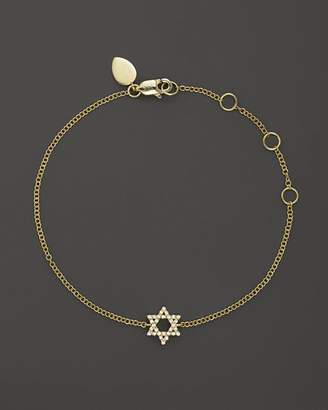 Meira T 14K Yellow Gold Star of David Bracelet with Diamonds, .13 ct. t.w.