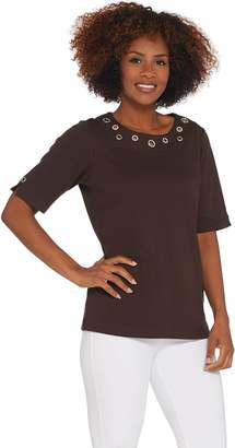 Factory Quacker Rhinestone Grommet Elbow-Sleeve Knit Top