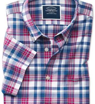 Charles Tyrwhitt Slim fit pink and navy check short sleeve poplin shirt