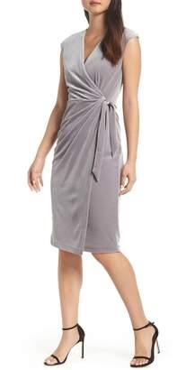 Maggy London Velvet Faux Wrap Dress