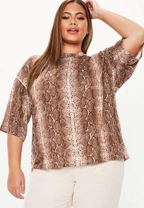 Missguided Plus Size Brown Snake Print Oversized T Shirt