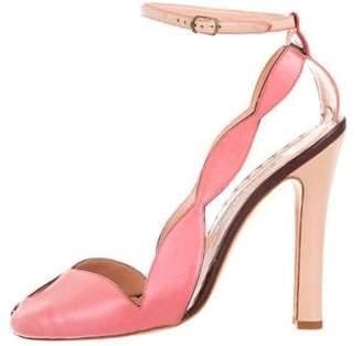 Manolo Blahnik Leather Semi Pointed-Toe Sandals