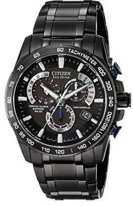 Citizen Eco-Drive Men's AT4007-54E Perpetual Chrono A-T Black Ion Plated Stainless Steel Watch