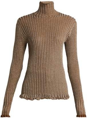 Chloé Ruffle-trimmed metallic-knit silk-blend sweater