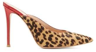 Gianvito Rossi Leopard Print 105 Calf Hair Mules - Womens - Leopard