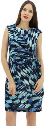 BENANCY Women's Casual Summer Sleeveless Printed Midi Dress with Belt B/B S