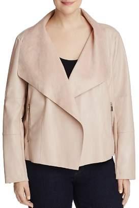 Bagatelle Plus Faux Leather Drape Jacket