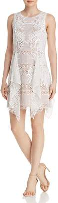 BCBGMAXAZRIA Drape-Detail Lace Dress