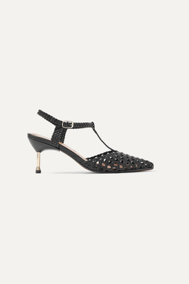 Souliers Martinez - Sevilla 65 Woven Leather Pumps - Black