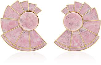 Nautilus Earfan 24K Gold-Plated Brass Rodonite Earrings