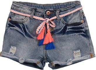 Hannah Banana Distressed Denim Shorts w\/ Tassel Belts Size 7-14