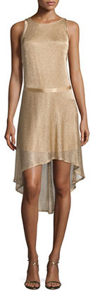 Zadig & Voltaire Rabelais Deluxe Sleeveless Metallic Dress, Beige $548 thestylecure.com