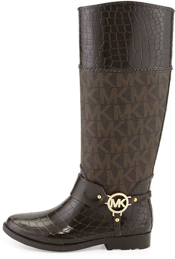 MICHAEL Michael Kors [MKFMGLOBALCOPY-mmk] Croc-Embossed/Logo Rainboot 2