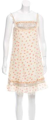Anna Sui Sleeveless Floral Print Dress