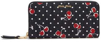 Miu Miu Cherry-print denim wallet