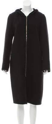 Barbara Bui Wool Leather-Trimmed Coat