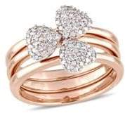 Concerto 0.17 TCW Diamond Heart Three-Piece Stacking Ring Set in 14K Rose Gold