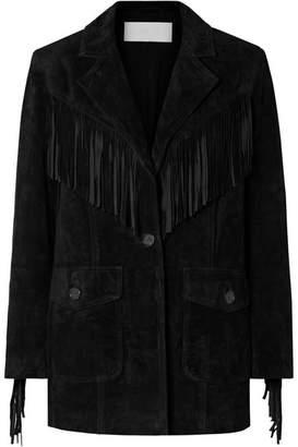 RE/DONE Oversized Fringed Suede Blazer - Black