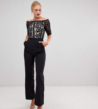 Little Mistress Tall lace applique top tailored jumpsuit