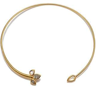 Satya Jewelry Womens Labradorite Gold Open Choker Necklace
