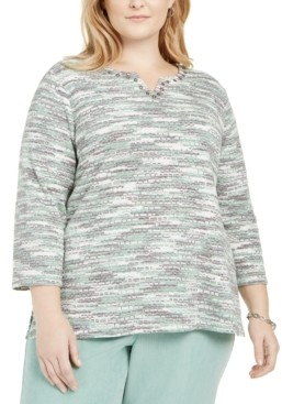 Alfred Dunner Plus Size Lake Geneva Space-Dyed Knit Top