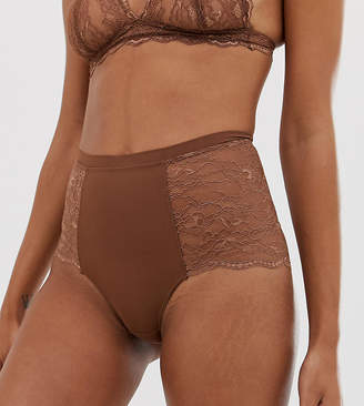 Monki high waisted brief in mid brown