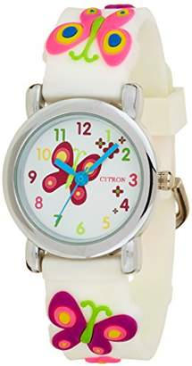 Citron KID87 Girls Quartz Watch with White Dial Analogue Display and White Plastic