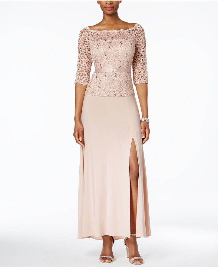 R & M Richards Sequined Lace A-Line Gown 2