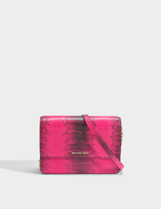 MICHAEL Michael Kors Gusset Large Crossbody Bag in Ultra Pink Python Embossed Calfskin