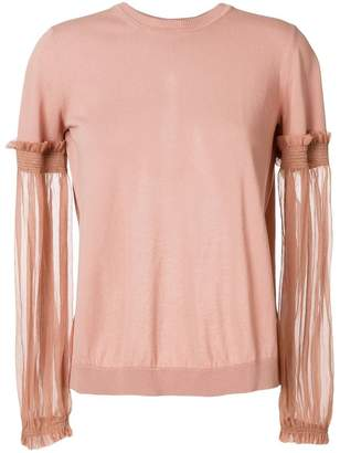 No.21 sheer sleeve sweatshirt