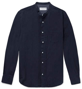 Officine Generale Nathan Grandad-Collar Pleated Cotton And Linen-Blend Shirt