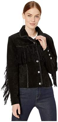 Scully Suede Jacket with Fringe and Turquoise Snaps