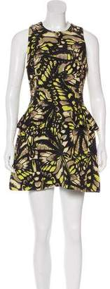 Alexander McQueen Printed Peplum-Accented Dress