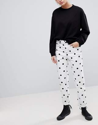 Asos Design Ritson Rigid Mom Jeans In Mono Polka Dot Print
