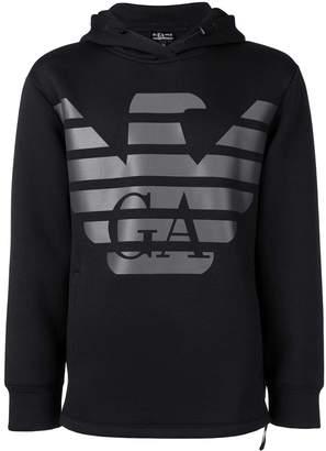 Emporio Armani logo print hoodie