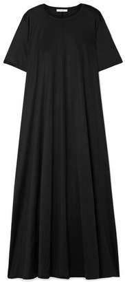 The Row Rosing Silk And Cotton-blend Jersey Maxi Dress - Black