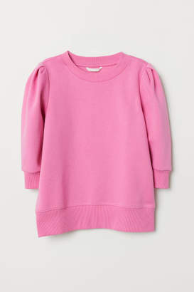 H&M Puff-sleeved Sweatshirt - Pink