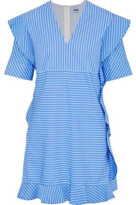 MSGM Ruffle-Trimmed Striped Cotton-Poplin Mini Dress