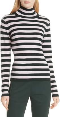 Tory Sport Stripe Ribbed Merino Wool Turtleneck Sweater