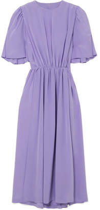 Pushbutton - Gathered Silk Midi Dress - Lavender