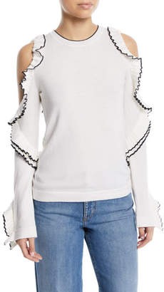Oscar de la Renta Cold-Shoulder Long-Sleeve Wool Knit Top w/ Ruffled Frills