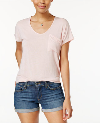 Planet Gold Juniors' High-Low Pocket T-Shirt $24 thestylecure.com