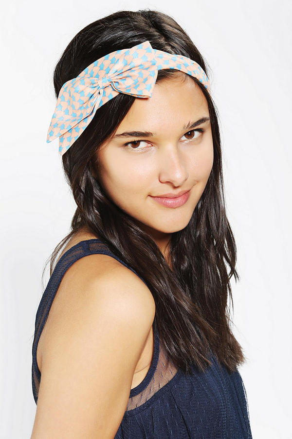 Urban Outfitters Heart-Print Bow Headwrap