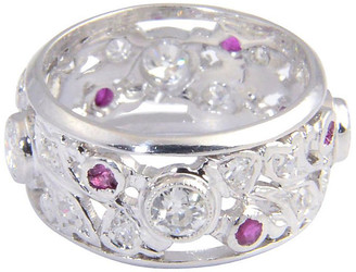 One Kings Lane Vintage Art Deco Ruby & Diamond Platinum Band - Owl's Roost Antiques