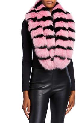 CHARLOTTE SIMONE Kaleidoscope Cuff Fox Fur Scarf