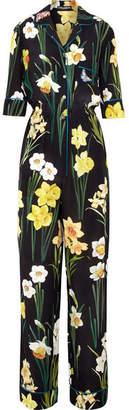 Dolce & Gabbana Floral-print Silk Crepe De Chine Jumpsuit - Black