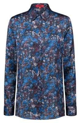 HUGO Boss Regular-fit satin blouse floral camouflage print 4 Patterned