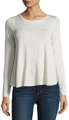 Bobeau Pleated-Back Long-Sleeve Tee, Beige $39 thestylecure.com